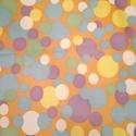 Bohóc jelmez anyag, Textil, Vászon, Rugalmas sárga alapon szines pöttyös méteráru.   Mérete:150x80 cm  Bohóc jelmeznek ajánlom., Alkotók boltja
