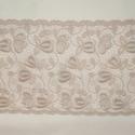 Csipke, Textil, 120 x 20,5 cm bézs színű hímzett zsinórozott szélcsipke., Alkotók boltja