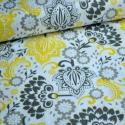 Sárga Evening - 50cm x 110cm minimum, Textil, Pamut, Varrás, Textil, Evening kollekcióból  Amerikai designer anyag   Minta: fehér alapon szürke, fekete és sárga virágok..., Alkotók boltja