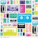 Geekly Cassettes -   50cm x 110cm minimum, Textil, Pamut, Varrás, Textil, 100%  pamut anyag 25x 110 cm a legkisebb egység aemelyet levágunk. minta: fehér alapon színes válto..., Alkotók boltja