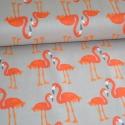 Lulu Flamingói - 50cm x 110cm minimum, Textil, Pamut, Varrás, Textil, Amerikai designer anyag, Riley Blake.    Minta: Szürke alapon egymással szembenéző narancs flamingó..., Alkotók boltja