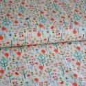 Roots Mini Garden - 50cm x 110cm minimum, Textil, Pamut, Varrás, Textil, Amerikai designer anyag, Riley Blake.    Minta: Fehér alapon mini erdei minta virágok, fák és madar..., Alkotók boltja