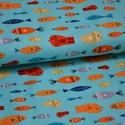 Fish in Ocean designer textil 50cm x 110cm minimum, Textil, Pamut, Varrás, Textil, 100% pamut amerikai designer anyag, az ár 50cm x 110cm-re vonatkozik  Minta: világos kék alapon min..., Alkotók boltja