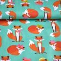 Fabulous Foxes Aqua designer textile, Textil, Pamut, Varrás, Textil, 100% pamut amerikai designer anyag, az ár 25cm x 110cm-re vonatkozik  Minta: Menta zöld alapon róka..., Alkotók boltja
