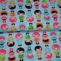 Little dolls in Rainbow designer textil 50cm x 110cm minimum, Textil, Pamut, Varrás, Textil, 100% pamut amerikai designer anyag, az ár 25cm x 110cm-re vonatkozik  Minta: Világos kék alapon eső..., Alkotók boltja