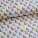 Macskák- 50cm x 110cm minimum, Textil, Pamut, Varrás, Textil, Amerikai designer anyag  Minta:mini szürke és színes macskák  100% pamut, 30 fokon mosható és 2es f..., Alkotók boltja
