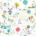 Summer Landscape- 25cm x 110cm, Textil, Pamut, Varrás, Textil, Angol designer anyag  Minta:  vidám, falusi táj  100% pamut, 30 fokon mosható és 2es fokozaton vasa..., Alkotók boltja