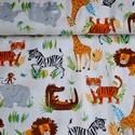 """""""Wild adventure"""" Amerikai designer textil 50cm x 110cm minimum, Textil, Pamut, Varrás, Textil, 100% pamut amerikai designer anyag, az ár 50cm x 110cm-re vonatkozik  Minta: krém fehér alapon álla..., Alkotók boltja"""