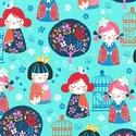 Cherry Blossom Garden designer textil 50cm x 110 cm minimum, Textil, Pamut, Varrás, Textil, 100% pamut amerikai designer anyag, az ár 25cm x 110cm-re vonatkozik  Minta: Világos kék alapon jap..., Alkotók boltja