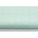 Türkiz - fehér színű marokkói mintás textil, menta és fehér Moroccan minta, mozaikos, Textil, 100 pamut textil menta és fehér színben, Marokkó mintás  Anyagszélesség: 160 cm Anyagvastagság: 145 ..., Alkotók boltja