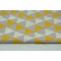 Szürke - sárga színű geometriai mintás textil, világos szürke és méz sárga színű háromszög minták, Textil, 100 % pamut textil szürke és sárga színben, háromszög mintás  Anyagszélesség: 160 cm Anyagvastagság:..., Alkotók boltja
