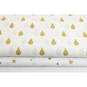 Arany - fehér színű esőcsepp mintás textil, Textil, Alkotók boltja