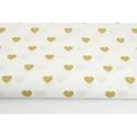 Arany - fehér színű szívecske mintás textil, Textil, 100 % pamut textil arany és fehér színben, szív mintás  Anyagszélesség: 160 cm Anyagvastagság: 120 g..., Alkotók boltja