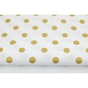 Arany - fehér színű pöttyös mintás textil, közepes méretű pöttyökkel, Textil, 100 % pamut textil arany és fehér színben, pöttyös  Anyagszélesség: 155 cm Anyagvastagság: 115 g / n..., Alkotók boltja