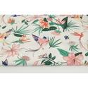 Színes kolibri mintás pamutvászon, növényi mintás, virágos textil, Textil, 100 % pamut textil színes kolibri mintával, levelekkel és virágokkal   Anyagszélesség: 160 cm Anyagv..., Alkotók boltja