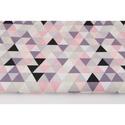 Színes háromszög mintás pamutvászon, geometriai mintás textil, szürke, korall, lazac és lila színű háromszög minták, Textil, 100 % pamut textil szürke, korall, lazac és lila színű háromszög mintás, közepes méretű háromszögekk..., Alkotók boltja