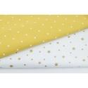 Arany - fehér színű csillag mintás textil, csillagos pamutvászon, Textil, Alkotók boltja