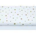 Arany - fehér színű csillag mintás textil, csillagos pamutvászon, Textil, 100 % pamut textil arany és fehér színben, csillag mintás  Anyagszélesség: 160 cm Anyagvastagság: 19..., Alkotók boltja