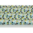 Mustársárga - kék - fekete színű geometriai mintás textil, háromszög mintás pamutvászon, Textil, 100 % pamut textil mustár sárga, fekete és kék színben, háromszög mintás  Anyagszélesség: 160 cm Any..., Alkotók boltja