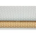 Bézs - fehér apró levél mintás pamutvászon, Textil, Alkotók boltja