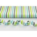 Szürke - fehér - türkiz - zöld, lime csíkos pamutvászon, vagány, üde fiús színek, Textil, 100 % pamut textil szürke - fehér - zöld és türkiz színű csíkos mintás  Anyagszélesség: 160 cm Anyag..., Alkotók boltja