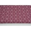 Modern kocka mintás pamutvászon, sötétlila színben, geometriai minta lila alapon fehér szín, Textil, 100 % pamut textil lila színű modern geometriai mintás  Anyagszélesség: 160 cm Anyagvastagság:..., Alkotók boltja