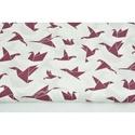 Modern origami mintás pamutvászon, sötétlila origami madár mintákkal, geometriai minta fehér alapon lila szín, Textil, 100 % pamut textil lila - fehér színű modern geometriai mintás, origami madár mintás  Anyagszélesség..., Alkotók boltja