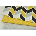 Modern kocka mintás pamutvászon, mustársárga színben, geometriai minta mustár sárga alapon fehér szín, Textil, Alkotók boltja