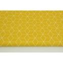 Modern kocka mintás pamutvászon, mustársárga színben, geometriai minta mustár sárga alapon fehér szín, Textil, 100 % pamut textil mustár sárga színű modern geometriai mintás  Anyagszélesség: 160 cm Anyagv..., Alkotók boltja