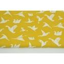 Modern origami mintás pamutvászon, mustár sárga origami madár mintákkal, geometriai minta mustársárga alapon fehér szín, Textil, 100 % pamut textil mustár sárga - fehér színű modern geometriai mintás, origami madár mintás  Anyags..., Alkotók boltja