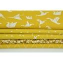 Modern origami mintás pamutvászon, mustár sárga origami madár mintákkal, geometriai minta mustársárga alapon fehér szín, Textil, Alkotók boltja