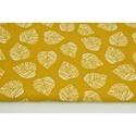 Mustársárga alapon fehér levél mintás közepesen vastag vászon anyag - sárga - dekor textil, levélmintás, falevelek, Textil, 70 % pamut és 30 % polyester dekor textil mustársárga alapon fehér levél mintával, közepesen vastag ..., Alkotók boltja