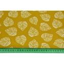 Mustársárga alapon fehér levél mintás közepesen vastag vászon anyag - sárga - dekor textil, levélmintás, falevelek, Textil, Alkotók boltja