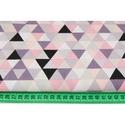 Színes háromszög mintás pamutvászon, geometriai mintás textil, szürke, korall, lazac és lila színű háromszög minták, Textil, Pamut, Varrás, Textil, 100 % pamut textil szürke, korall, lazac és lila színű háromszög mintás, közepes méretű háromszögek..., Alkotók boltja