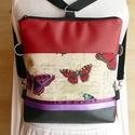 3 az1-ben. Hátizsák, válltáska, oldaltáska pillangós, Táska, Divat & Szépség, Táska, Válltáska, oldaltáska, Tarisznya, Hátizsák, Patchwork, foltvarrás, Varrás, Akció!Háromféle módon használható táskámat erős szövet anyag és textilbőr keverékéből készítettem. ..., Meska