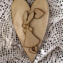 Natúr szív - nyuszilánnyal, Fa, Egyéb fatermék, Mindenmás, Natúr fa szív, nyuszilánnyal. Mérete: 14x25 cm. Súlya: kb. 5 dkg., Alkotók boltja
