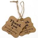 100 db papír thank you for celebrating with us kísérőkártya, Dekorációs kellékek, 100 db papír barna / natúr vagy fehér, thank you for celebrating with us kísérőkártya spárga szalagg..., Alkotók boltja