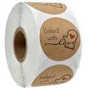 500 db baked with love matrica, Dekorációs kellékek, Csomagolóanyag, Mindenmás, Öntapadós matrica, kör alakú, baked with love (szeretettel sütve) felirattal  Mérete: kb. 2,5 cm át..., Alkotók boltja