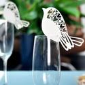 ültetőkártya pohárra, madár (50db), Dekorációs kellékek, Mindenmás, 50 db madár formájú, lézervágott, szolidan csillámos papírból készült ültetőkártya, pohárjelölő, ap..., Alkotók boltja