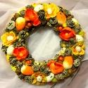 Sárga - narancs húsvéti asztaldísz/kopogtató, Dekoráció, Ünnepi dekoráció, Húsvéti apróságok, Dísz, Virágkötés, Egyedi, tartós húsvéti koszorút készítettem, mely asztaldíszként vagy kopogtatóként is használható...., Meska
