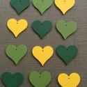 Zöld,sárga szív, Fa, Egyéb fatermék, Famegmunkálás, Sárga, közép zöld és sötét zöld színű szív Anyaga festett fa.  4,5x3 cm.  Az ár 10 db-ra értendő!  , Alkotók boltja
