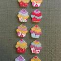 Muffin gomb, Fa, Gomb, Famegmunkálás,  Muffin gomb, színes. Fa alapanyagú. 2x2,5 cm   Az ár 10 db-ra értendő., Alkotók boltja