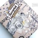 VINTAGE PARIS receptes mappa A5-ös, Konyhafelszerelés, Naptár, képeslap, album, Receptfüzet, Jegyzetfüzet, napló, Varrás, Ez a mintás borítóval ellátott gyűrűs mappa recepteknek készült, átlátszó zsebes fóliák vagy kinyom..., Meska
