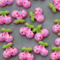 5 db-os Rózsaszín cseresznye meggy cabochon kaboson szett, Dekorációs kellékek, Gyöngy, ékszerkellék, Édes cseresznye mintás cabochon csomag  Méret:20mm  Vidám színek, igazi 'cukiság'  Lapos háttal, kit..., Alkotók boltja