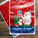"""10 db Karácsonyi hóemberes celofán tasak ajándéktasak, Csomagolóanyag, Fólia, Mézeskalácssütés, Aranyos mintával az elején  """"Merry Xmas"""" felirattal  A hátoldal fehér, pöttyökkel - az eleje átlász..., Alkotók boltja"""