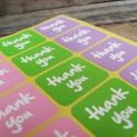 Négyzet Thank You pecsétmatrica  - 2 ív, Papír, Scrapbook, Papírművészet, Négyzet THANK YOU matrica  2 ív, három szín:pink/lila/zöld minden íven  12 matrica/ív   Méret: kb. ..., Alkotók boltja
