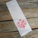 Öntapadós fehér alapú celofán tasak ajándéktasak - PIROS SZÍV, Csomagolóanyag, Fólia, Mézeskalácssütés, Piros szív mintával az elején  A hátoldala fehér, az eleje áttetsző, azon van a minta.  10db/csomag..., Alkotók boltja
