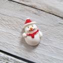 Karácsonyi mintás cabochon kaboson HÓEMBER, Dekorációs kellékek, Gyöngy, ékszerkellék, Fehér színű karácsonyi kaboson   Méret:25 x 16mm  Az ár 1db-ra vonatkozik   Lapos háttal, kitűnően r..., Alkotók boltja