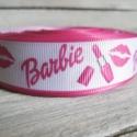 Barbie Rúzs mintás Grosgrain szalag - 22mm, Textil, Szalag, pánt, Varrás, Egyoldalas nyomott grosgrain szalag.   Méret: 22mm széles   Csomagoláshoz, ajándékokra, képeslapokr..., Alkotók boltja