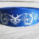 Kék absztrakt mintás Grosgrain szalag - 22mm, Textil, Szalag, pánt, Varrás, Egyoldalas nyomott grosgrain szalag.   Méret: 22mm széles   Csomagoláshoz, ajándékokra, képeslapokr..., Alkotók boltja